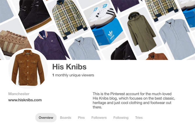 His Knibs now on Pinterest