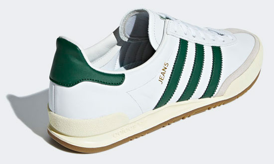 Adidas Jeans trainers reissue in white and green leather