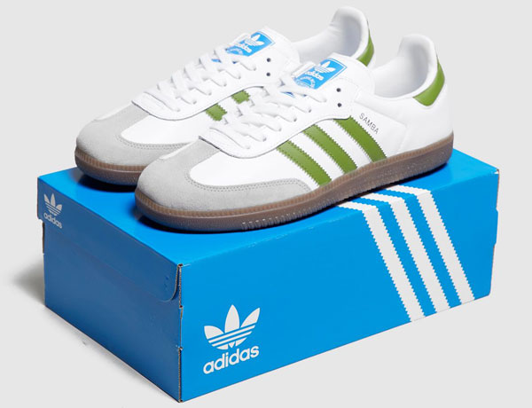 Adidas Samba trainers in a white and green finish