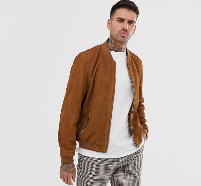 ASOS classic suede bomber jacket in tan