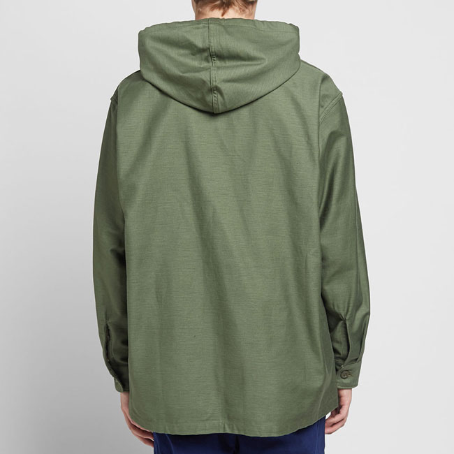 Hooded shirt jacket by Orslow