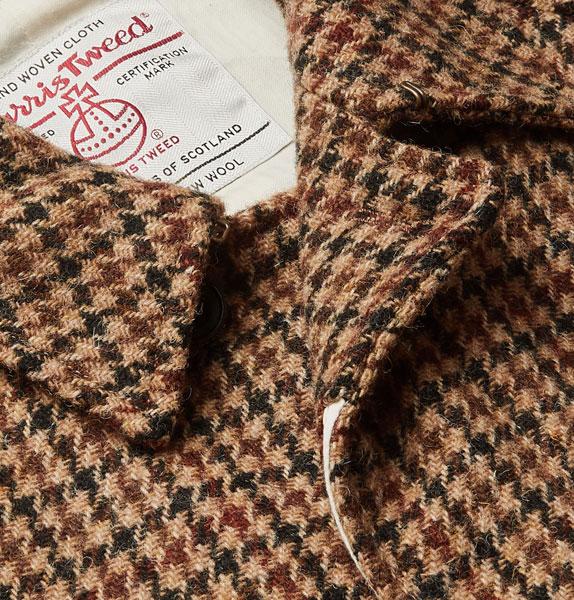 Beams Plus Harris Tweed houndstooth wool overcoat
