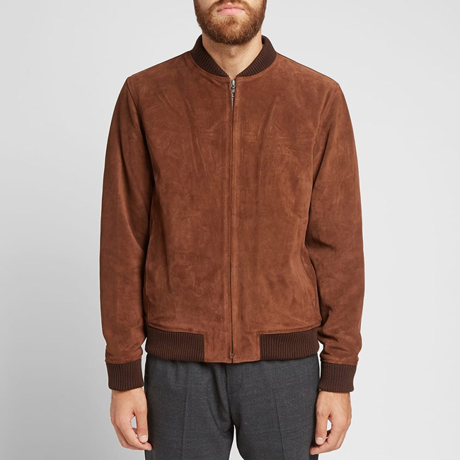 1. A.P.C. suede bomber jacket