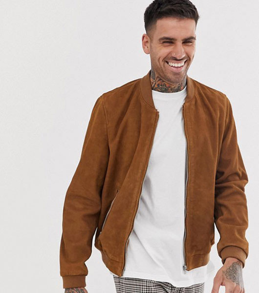 7. ASOS classic suede bomber jacket in tan