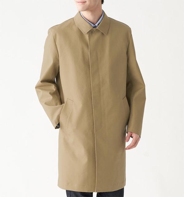 Waterproof convertible collar coat at Muji