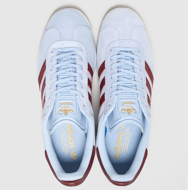 Adidas Gazelle trainers in claret and blue now available