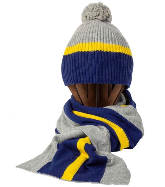 8. Johnston of Elgin tri-colour stripe cashmere scarf