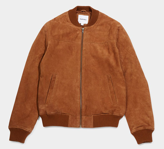 7. Tan suede bomber jacket by The Idle Man
