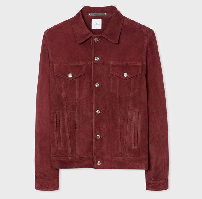 2. Burgundy suede trucker jacket by Paul Smith
