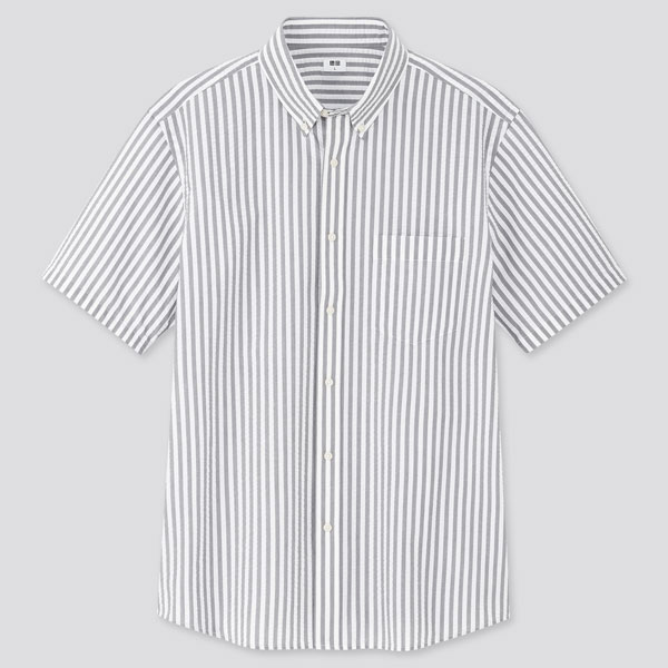Seersucker striped short-sleeved shirts
