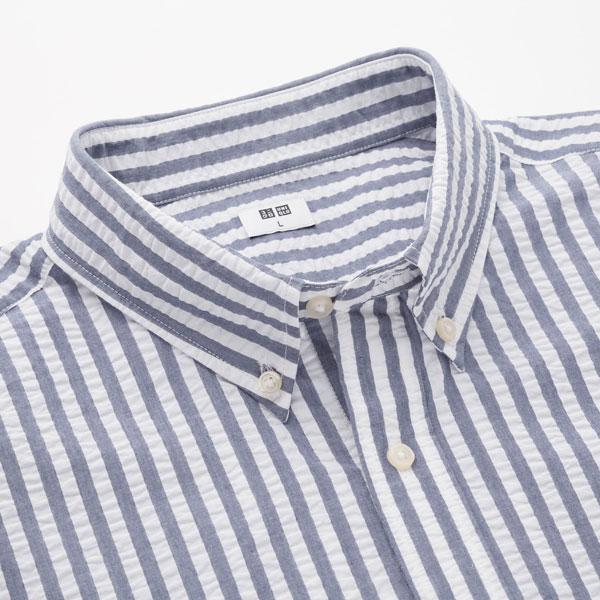 Seersucker striped short-sleeved shirts