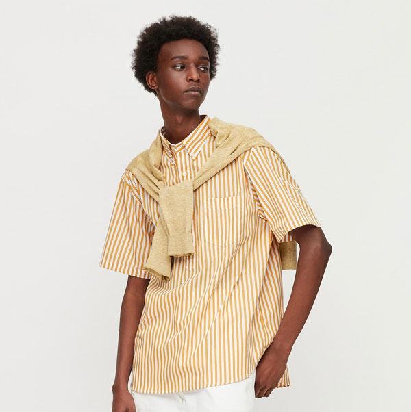 Budget button-down popover shirts at Uniqlo