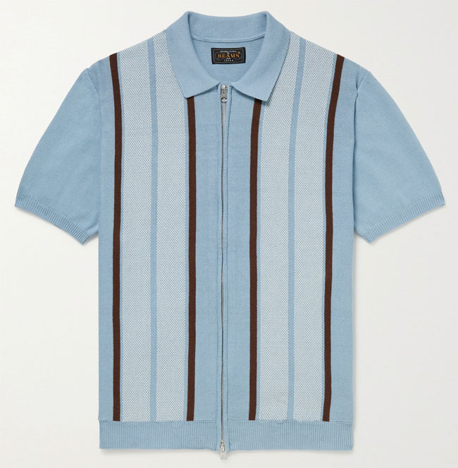 Vintage-style zip-up polo shirt by Beams Plus