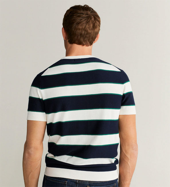 Vintage-style striped knitted t-shirt at Mango
