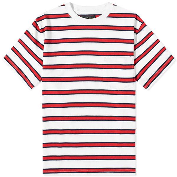 2. Beams Plus tricolour stripe t-shirt