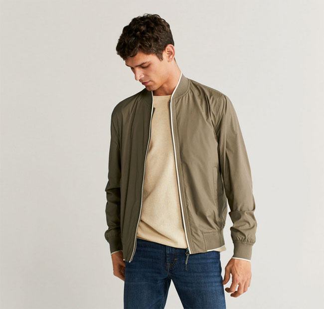 Budget fabric bomber jackets at Mango